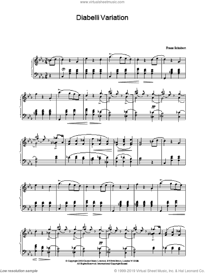 Diabelli Variation sheet music for piano solo by Franz Schubert
