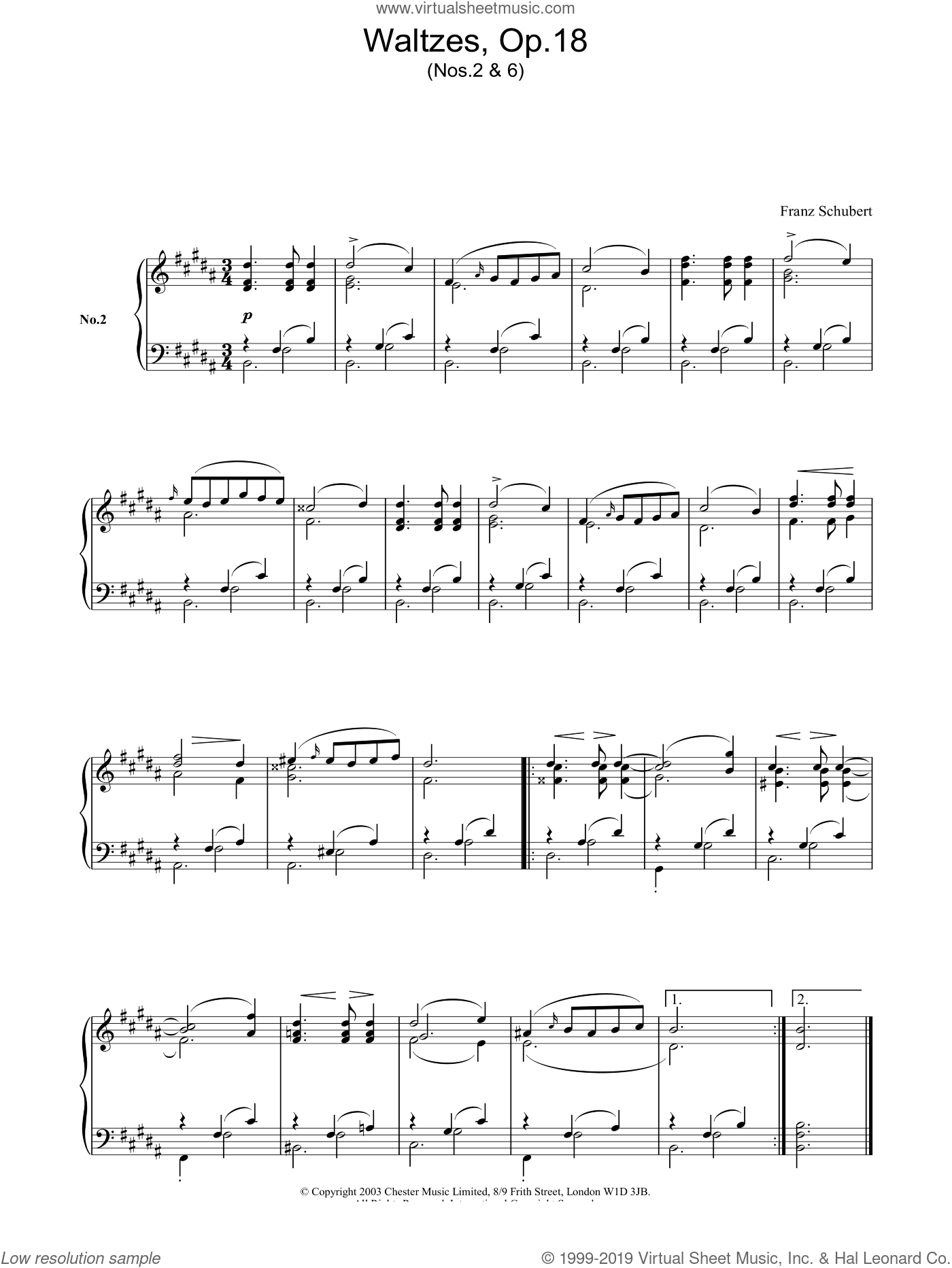 Waltzes, Op.18 sheet music for piano solo by Franz Schubert, classical score, intermediate piano. Score Image Preview.