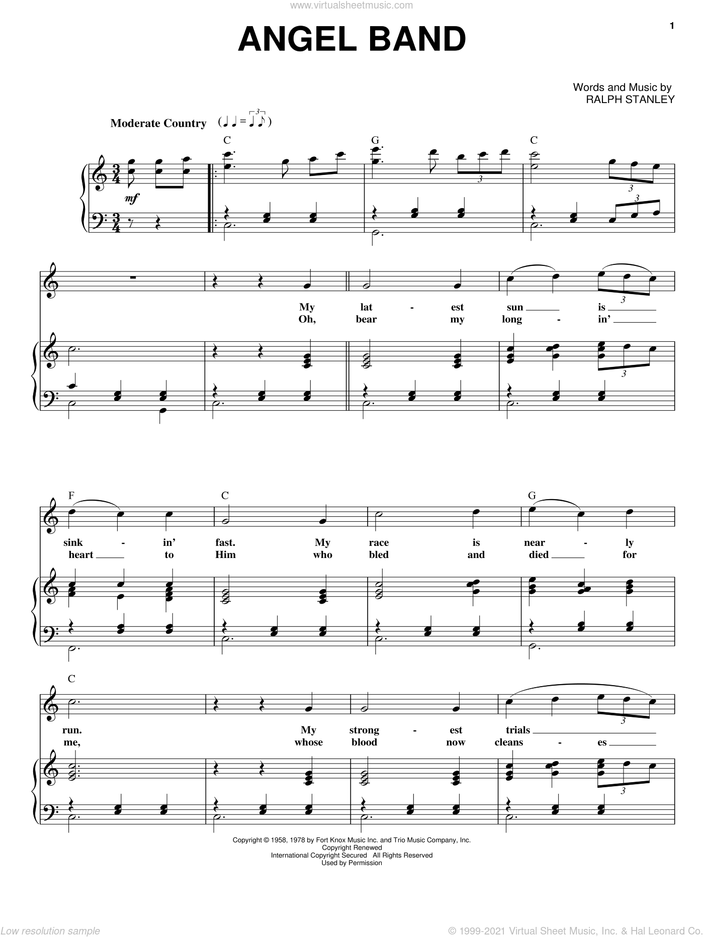 Angel Band sheet music for voice and piano by Ralph Stanley and The Stanley Brothers