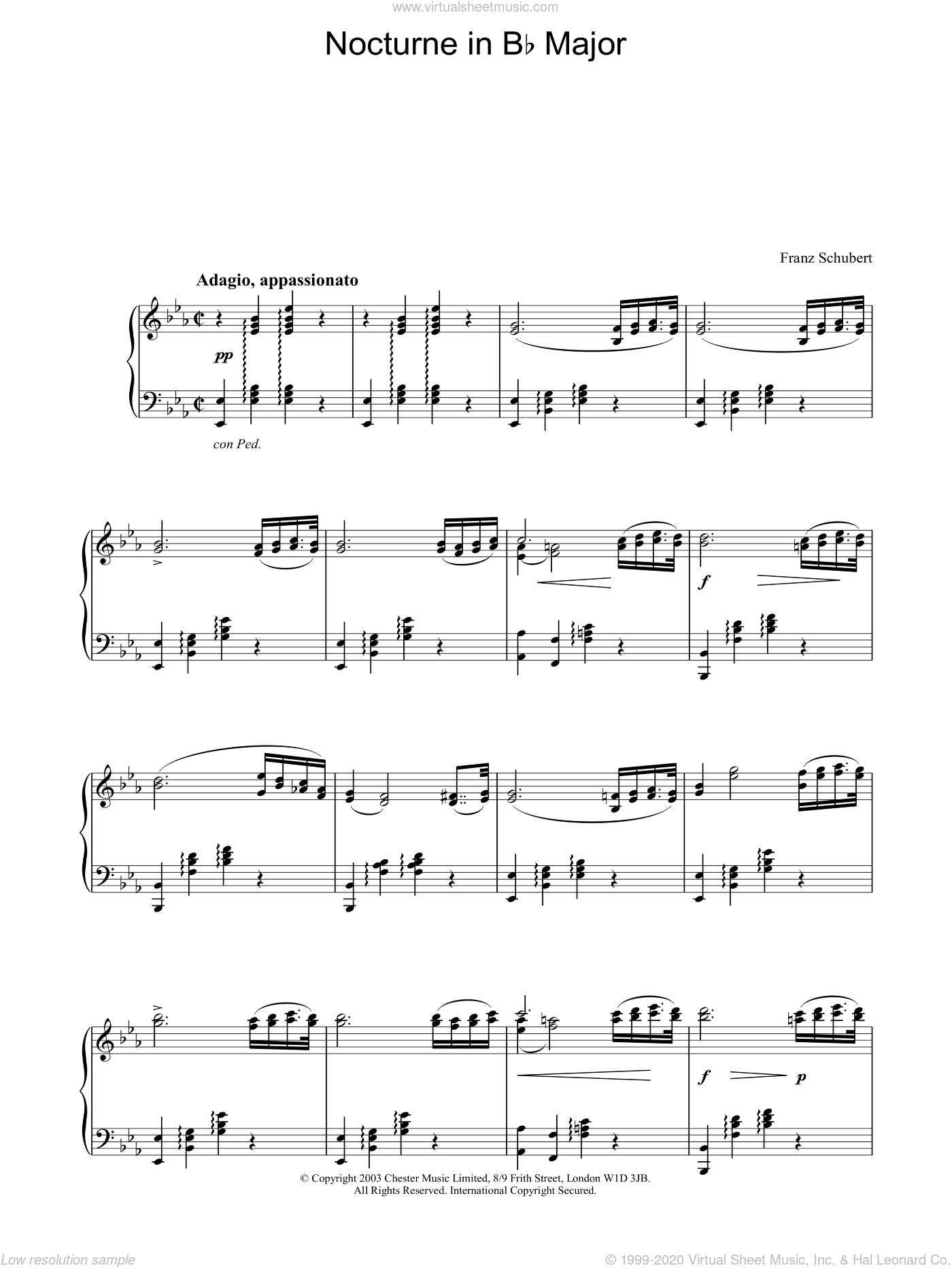 Nocturne in Eb Major sheet music for piano solo by Franz Schubert, classical score, intermediate piano. Score Image Preview.