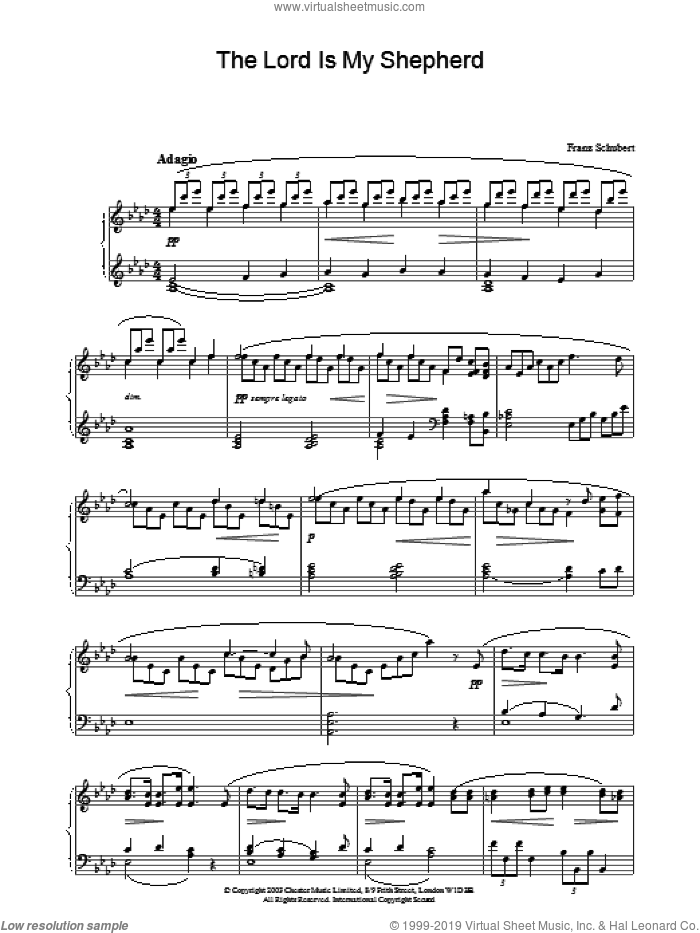 The Lord Is My Shepherd sheet music for piano solo by Franz Schubert