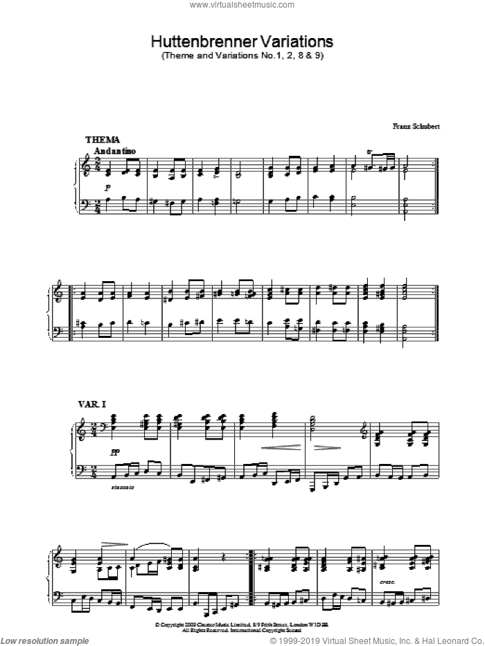 Huttenbrenner Variations sheet music for piano solo by Franz Schubert. Score Image Preview.