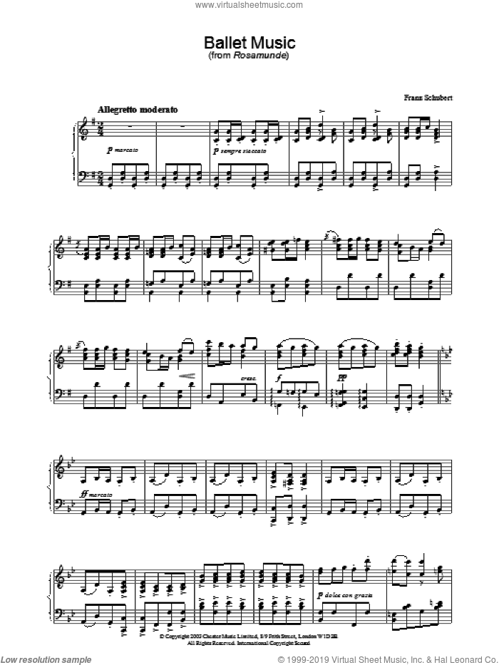 Ballet Music sheet music for piano solo by Franz Schubert