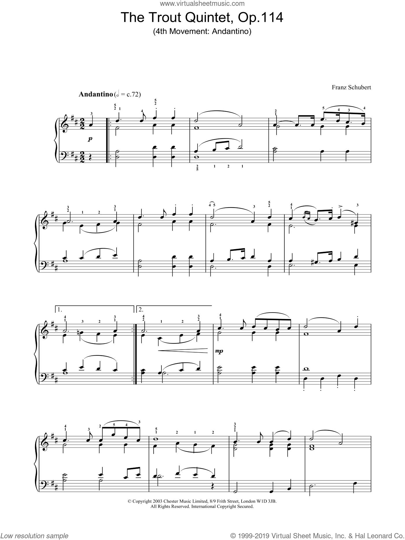 The Trout Quintet - 4th Movement: Andantino sheet music for piano solo by Franz Schubert, classical score, intermediate skill level