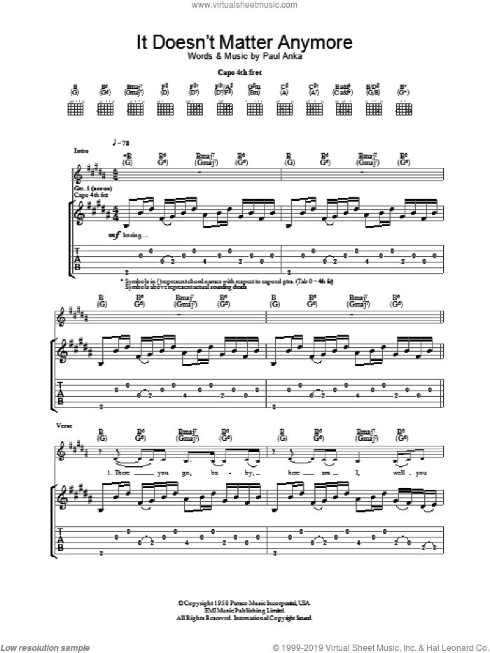 It Doesn't Matter Anymore sheet music for guitar (tablature) by Paul Anka
