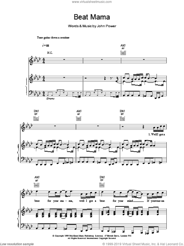 Beat Mama sheet music for voice, piano or guitar by John Power. Score Image Preview.