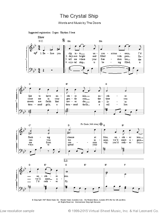 The Crystal Ship sheet music for voice, piano or guitar by The Doors