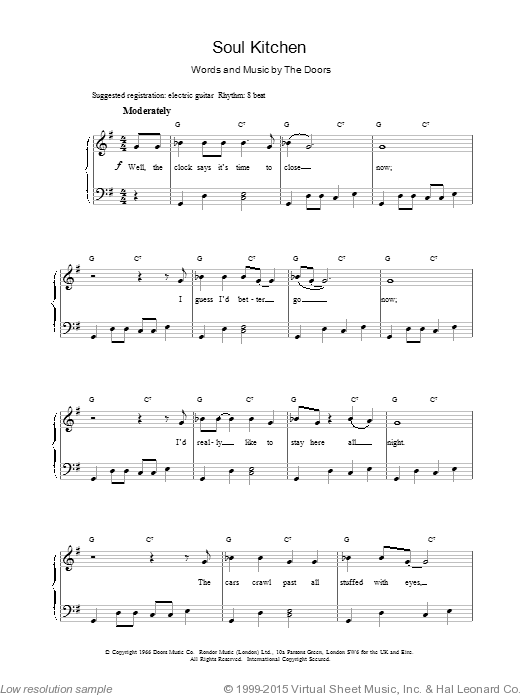 Soul Kitchen sheet music for voice, piano or guitar by The Doors