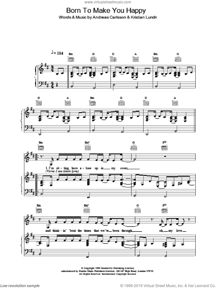 Born To Make You Happy sheet music for voice, piano or guitar by Britney Spears. Score Image Preview.