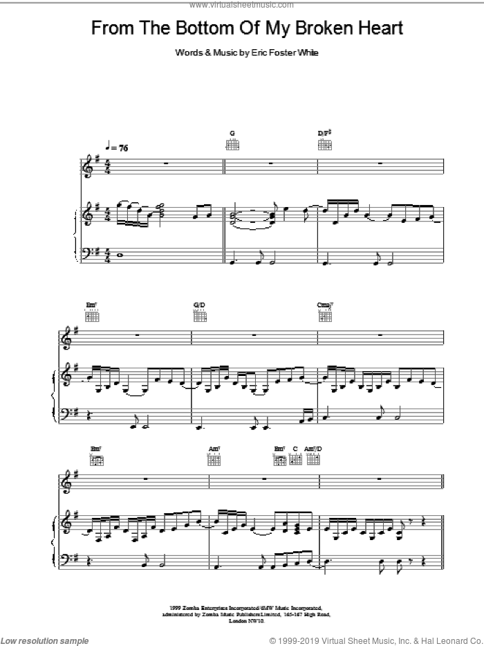From The Bottom Of My Broken Heart sheet music for voice, piano or guitar by Shania Twain. Score Image Preview.
