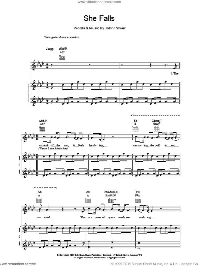 She Falls sheet music for voice, piano or guitar by John Power. Score Image Preview.