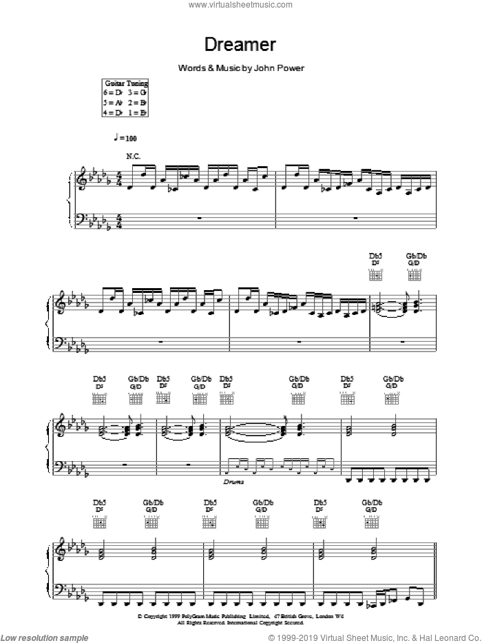 Dreamer sheet music for voice, piano or guitar by John Power. Score Image Preview.