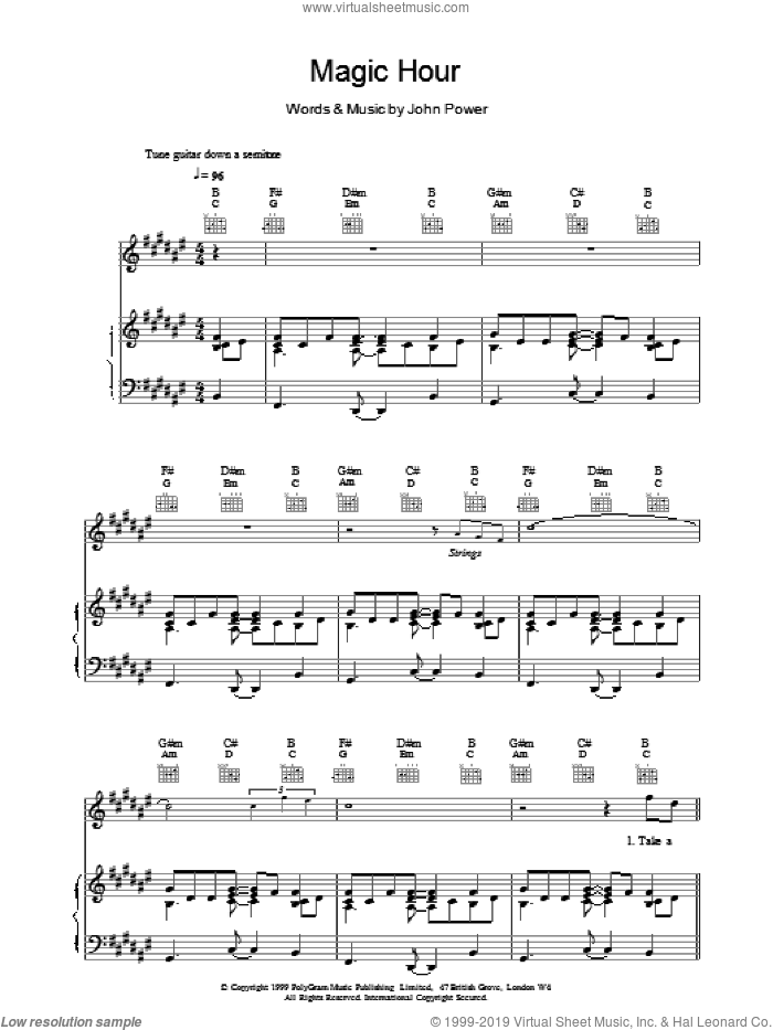Magic Hour sheet music for voice, piano or guitar by John Power. Score Image Preview.