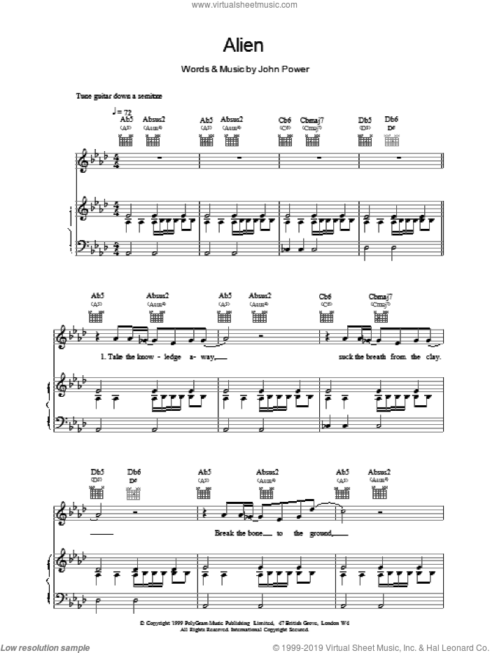 Alien sheet music for voice, piano or guitar by John Power. Score Image Preview.