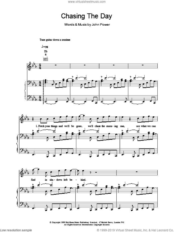 Chasing The Day sheet music for voice, piano or guitar by John Power. Score Image Preview.