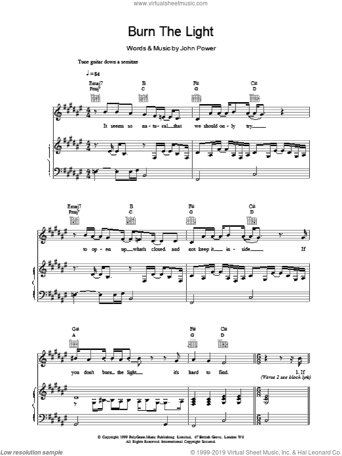 Burn The Light sheet music for voice, piano or guitar by John Power. Score Image Preview.