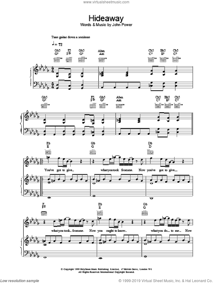 Hideaway sheet music for voice, piano or guitar by John Power, intermediate skill level