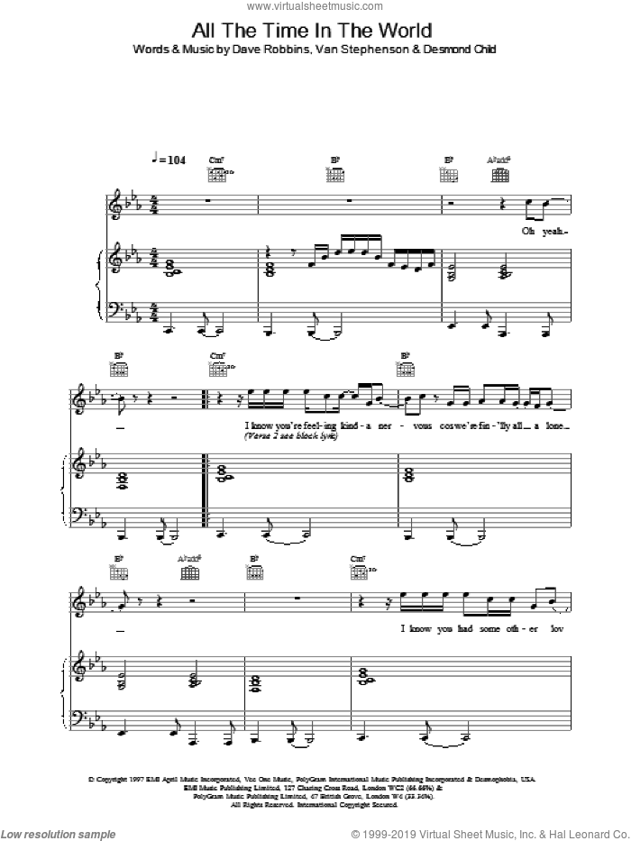 All The Time In The World sheet music for voice, piano or guitar by Boyzone. Score Image Preview.