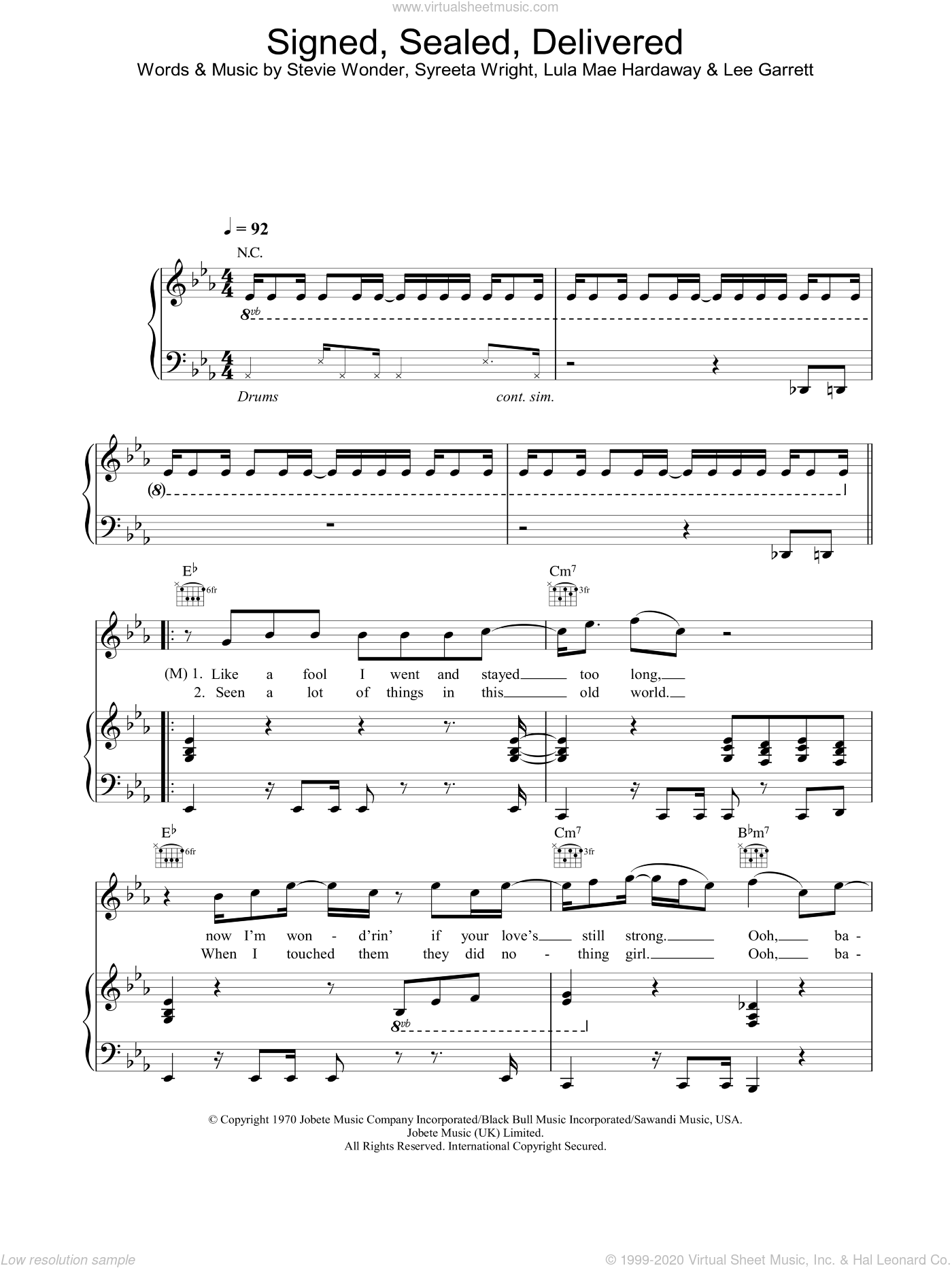 Signed, Sealed, Delivered sheet music for voice, piano or guitar  and Stevie Wonder, intermediate skill level
