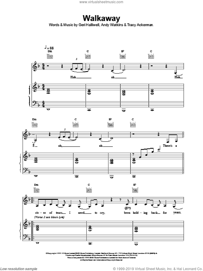 Walkaway sheet music for voice, piano or guitar by Geri Halliwell, intermediate