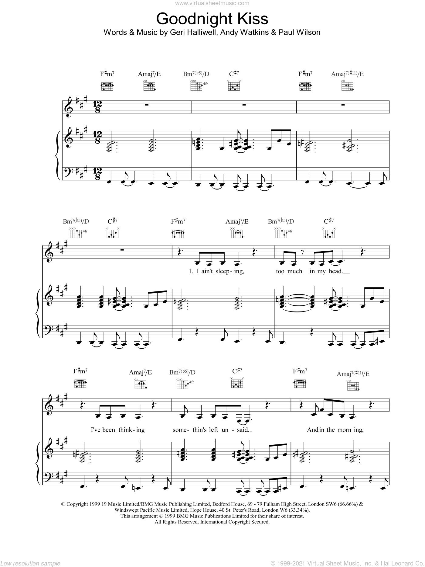 Goodnight Kiss sheet music for voice, piano or guitar by Geri Halliwell, intermediate voice, piano or guitar. Score Image Preview.