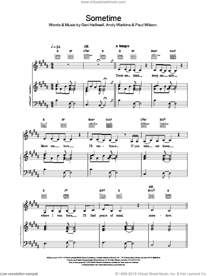 Sometime sheet music for voice, piano or guitar by Geri Halliwell, intermediate