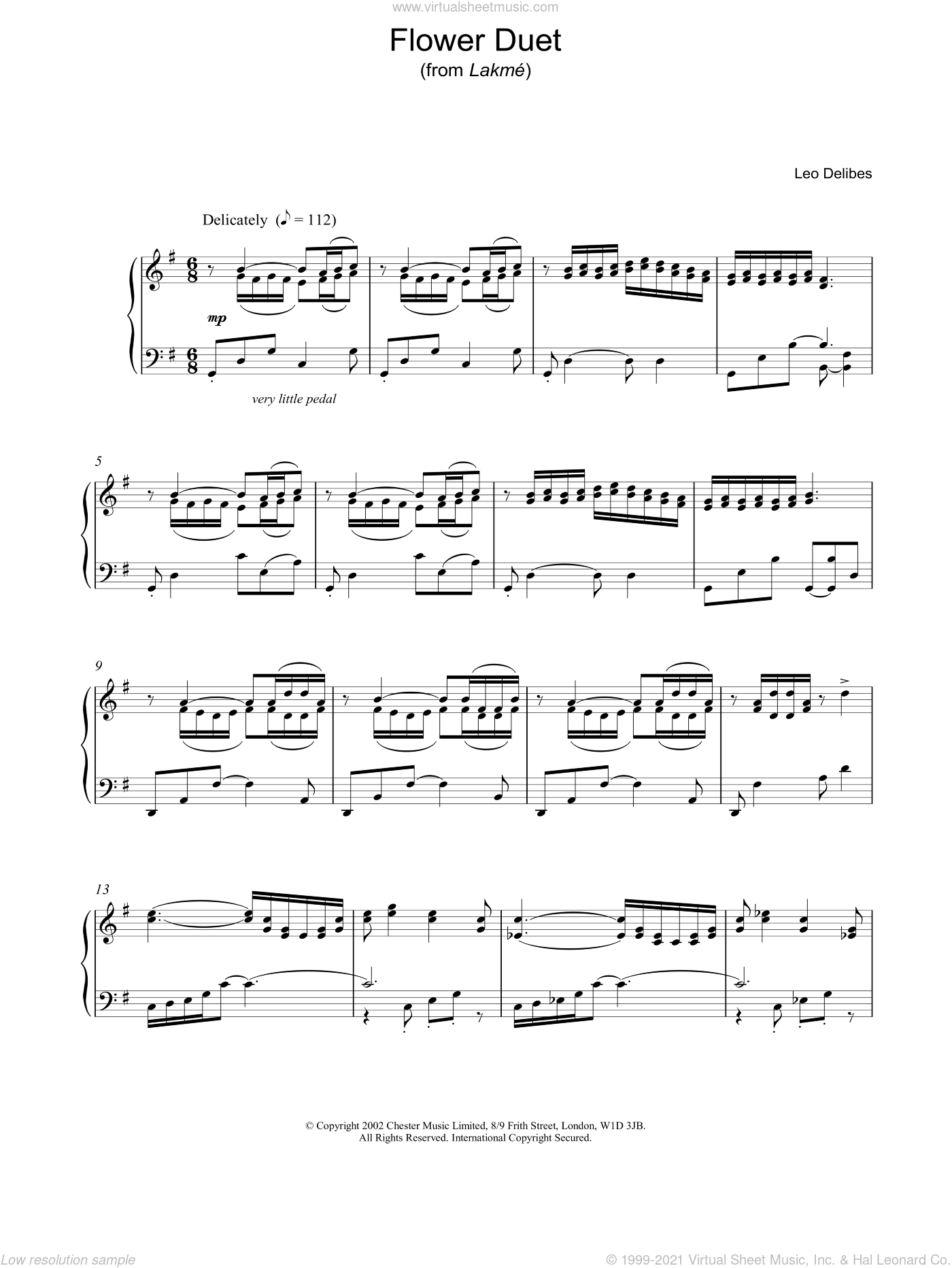 Flower Duet sheet music for piano solo by Leo Delibes. Score Image Preview.