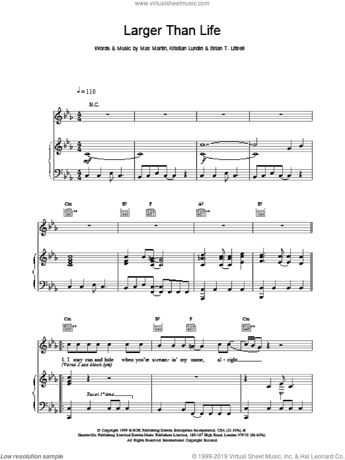 Larger Than Life sheet music for voice, piano or guitar by Backstreet Boys, intermediate skill level