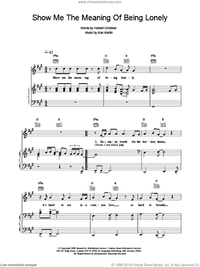 Boys - Show Me The Meaning Of Being Lonely sheet music for voice ...