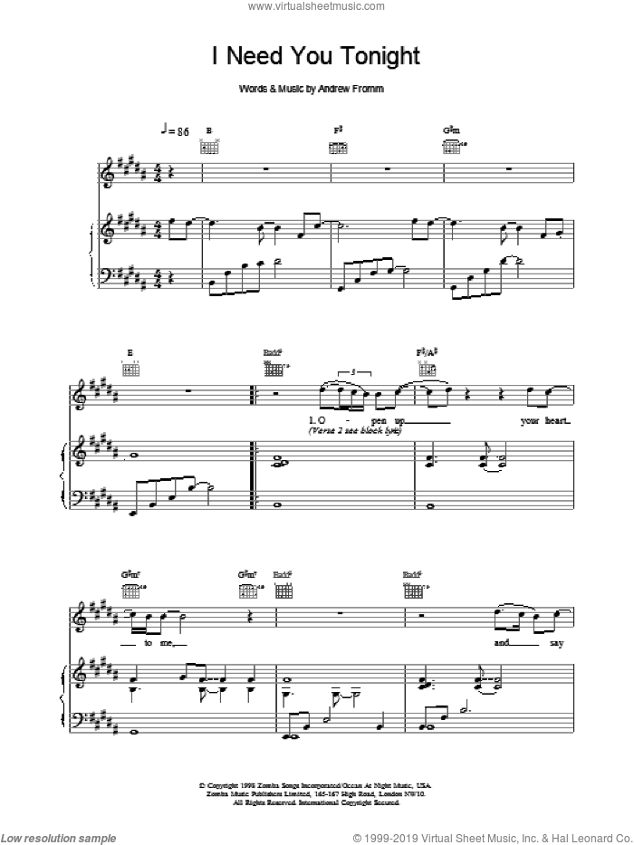 I Need You Tonight sheet music for voice, piano or guitar by Backstreet Boys, intermediate skill level