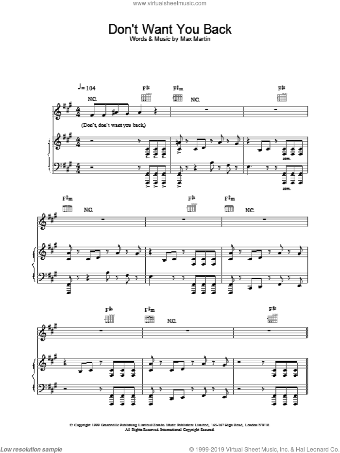 Don't Want You Back sheet music for voice, piano or guitar by Backstreet Boys. Score Image Preview.