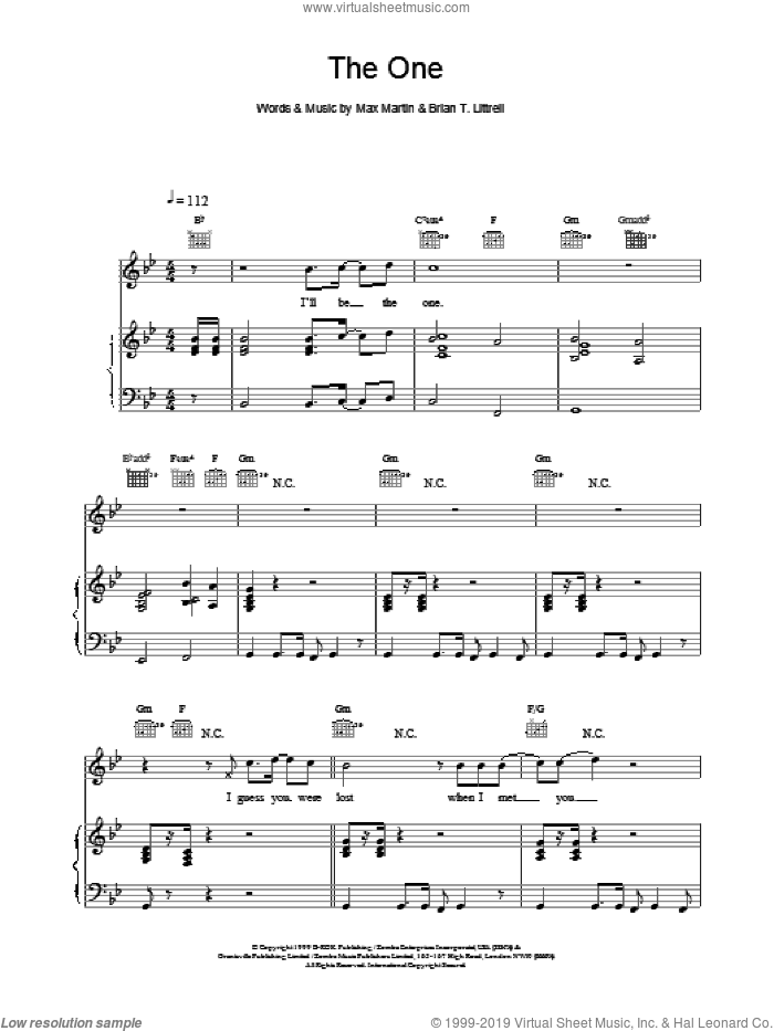 The One sheet music for voice, piano or guitar by Backstreet Boys, intermediate. Score Image Preview.