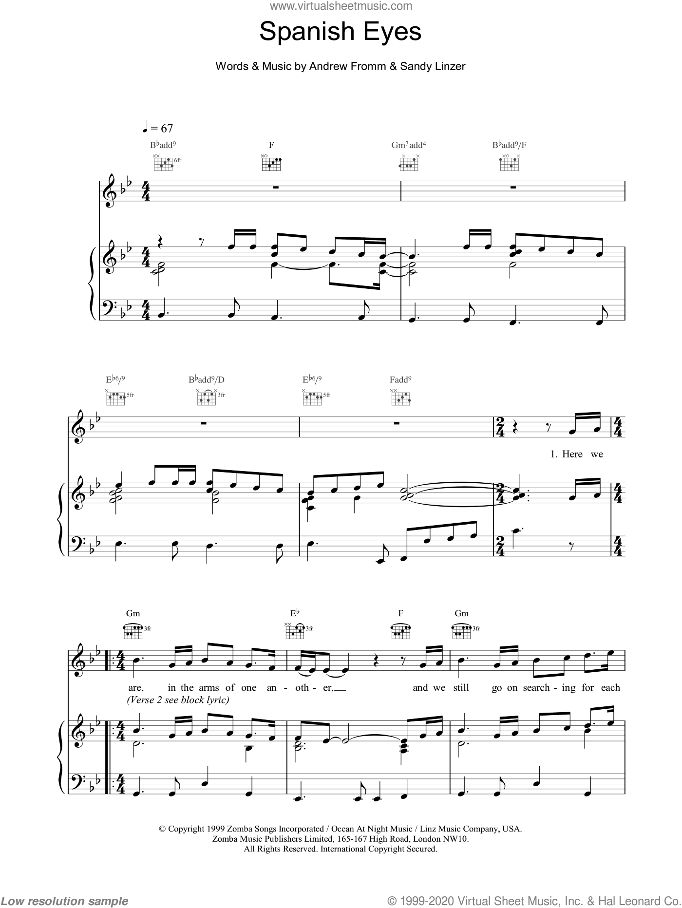Spanish Eyes sheet music for voice, piano or guitar by Sandy Linzer