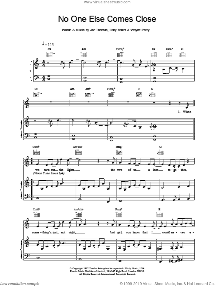 No One Else Comes Close sheet music for voice, piano or guitar by Backstreet Boys, intermediate skill level