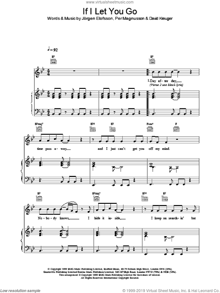 If I Let You Go sheet music for voice, piano or guitar by Westlife. Score Image Preview.