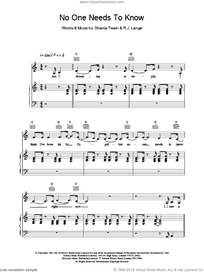 No One Needs To Know sheet music for voice, piano or guitar by Shania Twain. Score Image Preview.