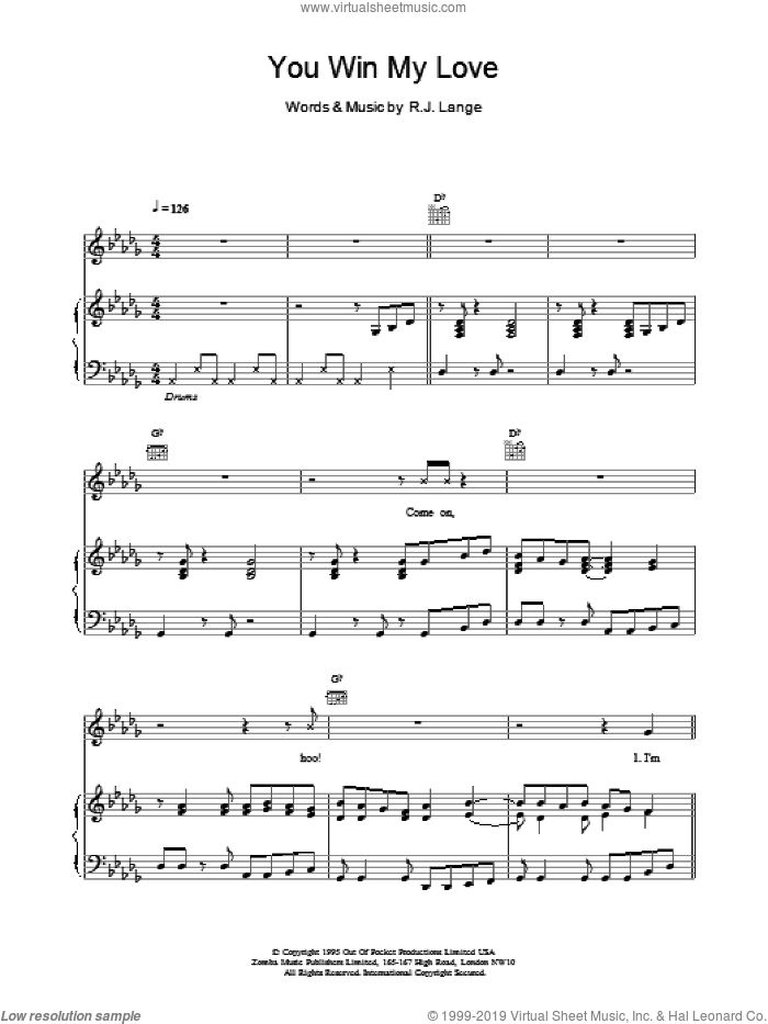 You Win My Love sheet music for voice, piano or guitar by Shania Twain, intermediate