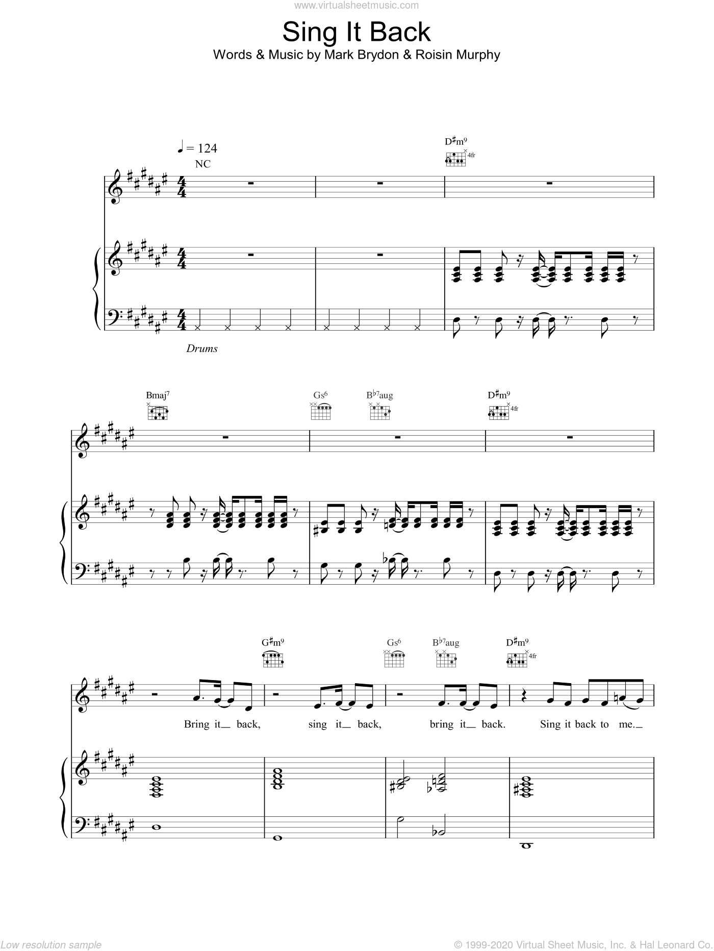 Sing It Back sheet music for voice, piano or guitar by Moloko, intermediate skill level