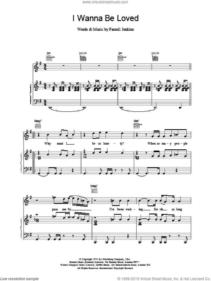 I Wanna Be Loved sheet music for voice, piano or guitar by Elvis Costello, intermediate skill level