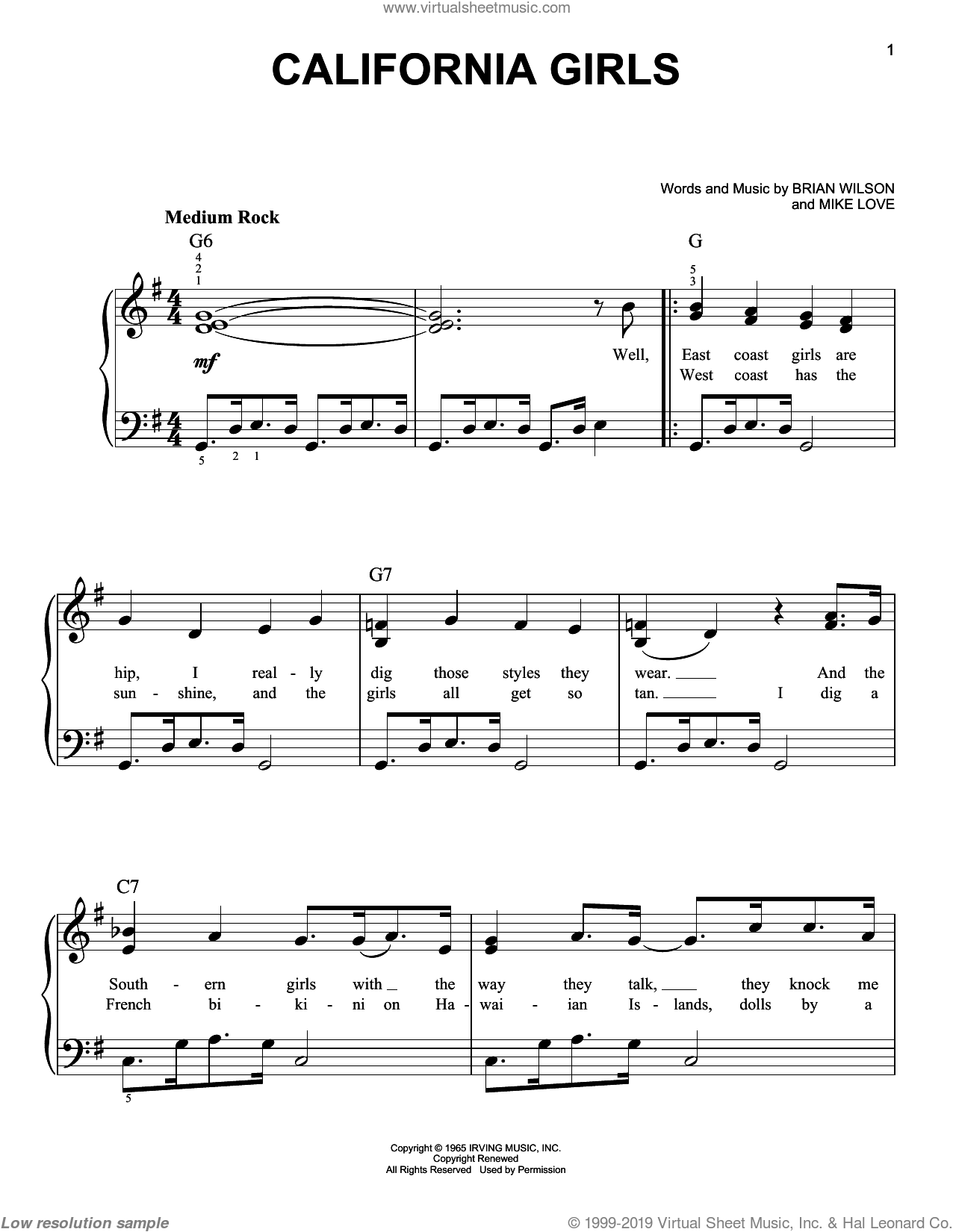 California Girls sheet music for piano solo by David Lee Roth, The Beach Boys, Brian Wilson and Mike Love, easy skill level