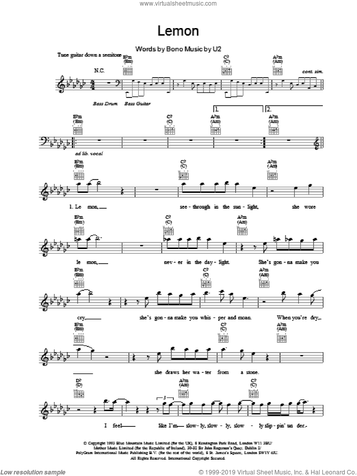 Lemon sheet music for voice and other instruments (fake book) by U2, intermediate skill level