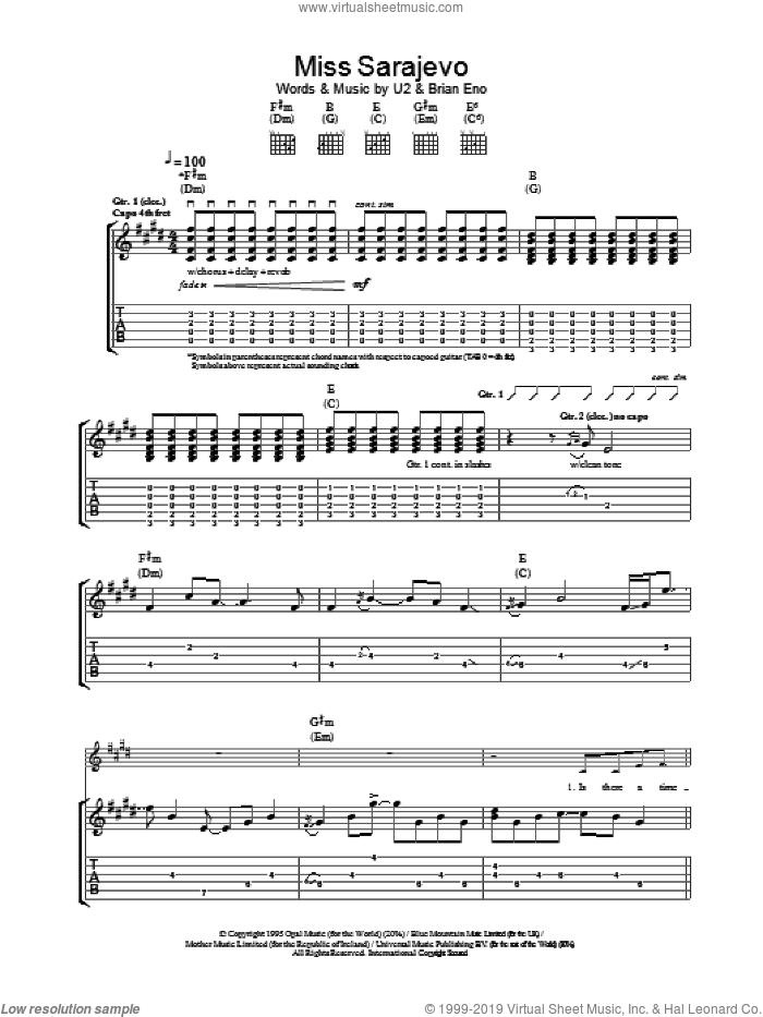 Miss Sarajevo sheet music for guitar (tablature) by U2, intermediate skill level
