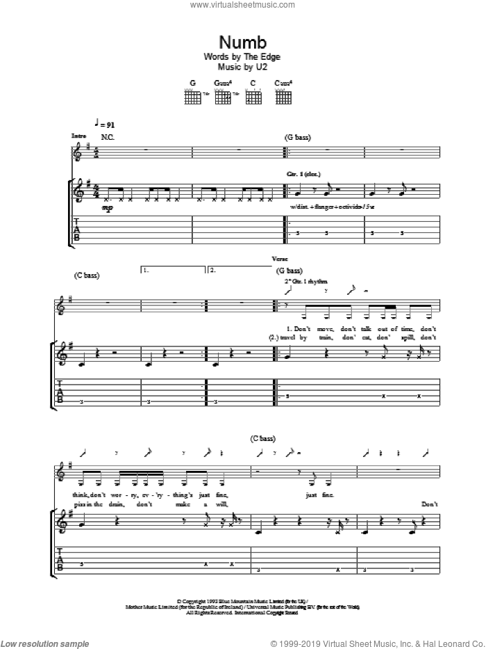 Numb sheet music for guitar (tablature) by U2, intermediate skill level