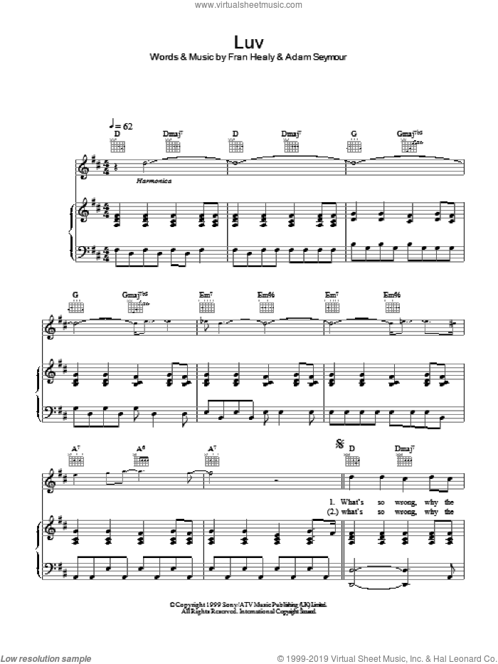 Luv sheet music for voice, piano or guitar by Merle Travis