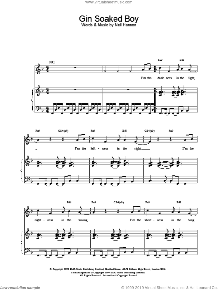 Gin Soaked Boy sheet music for voice, piano or guitar by The Divine Comedy, intermediate voice, piano or guitar. Score Image Preview.