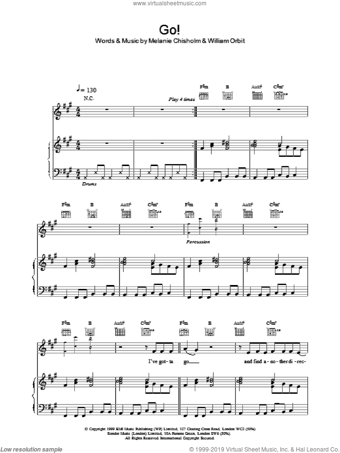 Go! sheet music for voice, piano or guitar by Chisholm Melanie, intermediate skill level
