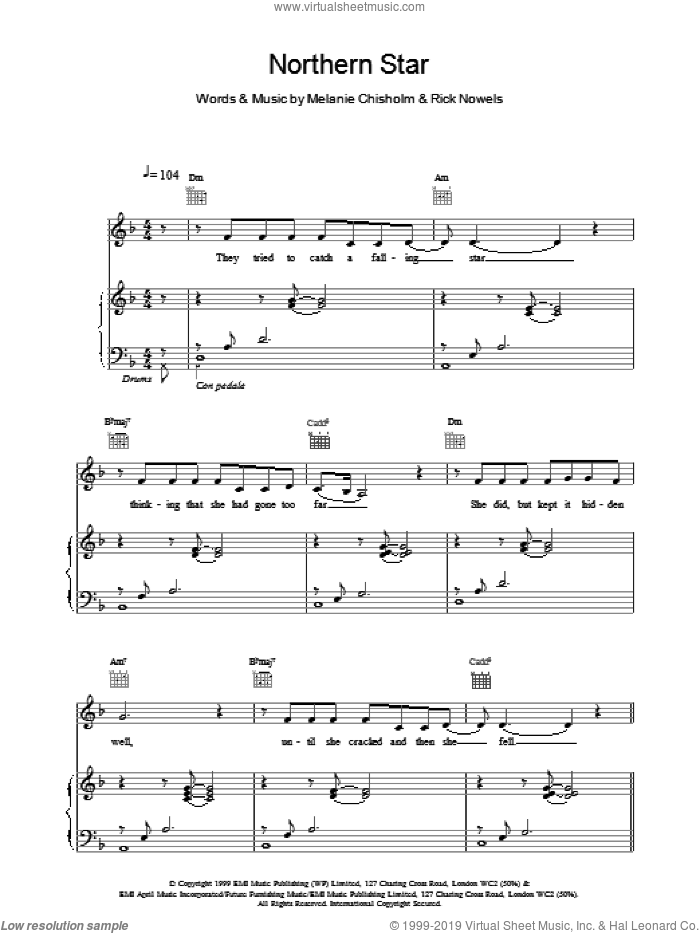 Northern Star sheet music for voice, piano or guitar by Chisholm Melanie, intermediate skill level