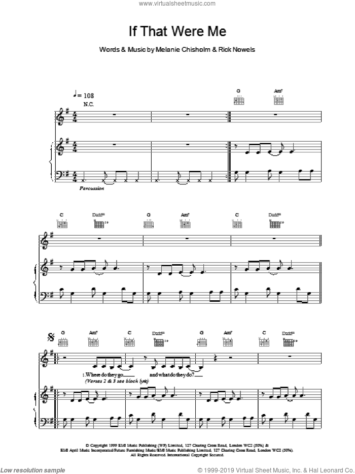 If That Were Me sheet music for voice, piano or guitar by Chisholm Melanie