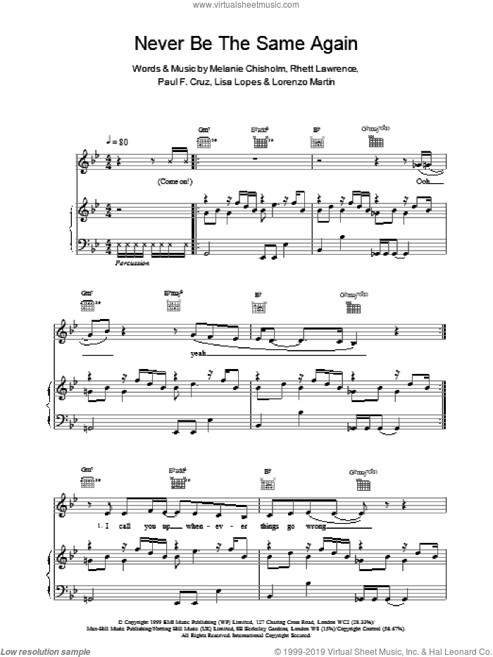 Never Be The Same Again sheet music for voice, piano or guitar by Chisholm Melanie. Score Image Preview.