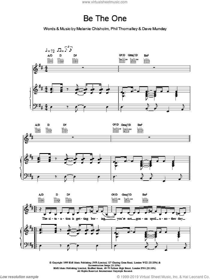 Be The One sheet music for voice, piano or guitar by Chisholm Melanie, intermediate voice, piano or guitar. Score Image Preview.
